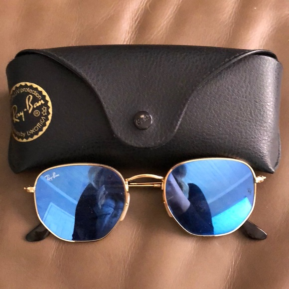 86ceb7a60 ... sale authentic ray ban hexagonal blue mirrored glasses. b5f1a 72cd0